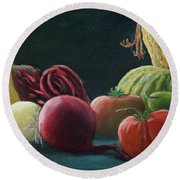 My Harvest Vegetables Round Beach Towel
