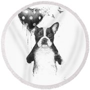 My Heart Goes Boom Round Beach Towel