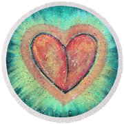 My Heart Loves You Round Beach Towel