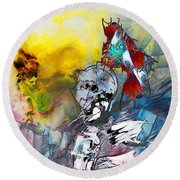My Knight In Shining Armour Round Beach Towel