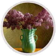 My Mother's Lilacs Round Beach Towel