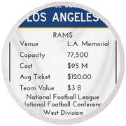 My Nfl Los Angeles Rams Monopoly Card Round Beach Towel