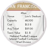 My Nfl San Francisco 49ers Monopoly Card Round Beach Towel