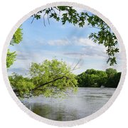 My Place By The River Round Beach Towel