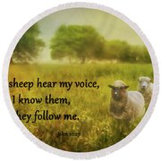 My Sheep Hear My Voice Round Beach Towel