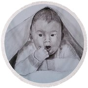 A Little Dude In The Blanket  Round Beach Towel