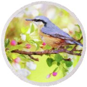 My Summer Bird Round Beach Towel