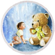 My Teddy And Me 03 Round Beach Towel