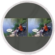 My Turn - Gently Cross Your Eyes And Focus On The Middle Image Round Beach Towel