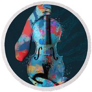 My Violin Whispers Music In The Night Round Beach Towel by Nikki Marie Smith
