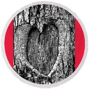 My Wood Heart  Round Beach Towel