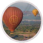 Myanmar. Bagan. Hot Air Balloons. In The Air. Round Beach Towel