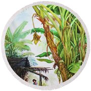 Myanmar Custom_01 Round Beach Towel