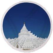 Myanmar. Mingun. The Hsinbyume Pagoda. Round Beach Towel