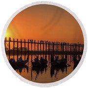 Myanmar. Taungthaman Lake. U Bein Bridge. Sunset. Round Beach Towel