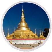 Myanmar Temple Round Beach Towel