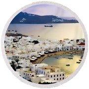 Mykonos Greece Round Beach Towel