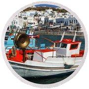 Mykonos Greece Fishing Boats Round Beach Towel