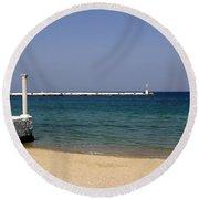 Mykonos Lookout Round Beach Towel