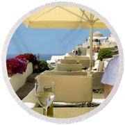 Mykonos Restaurant Round Beach Towel