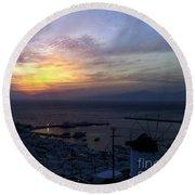 Mykonos Sunset Greece Round Beach Towel