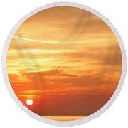 Mykonos Sunset Round Beach Towel
