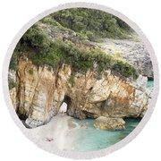 Mylopotamos Beach, Pelion, Greece Round Beach Towel