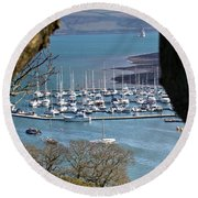Mylor Marina Round Beach Towel