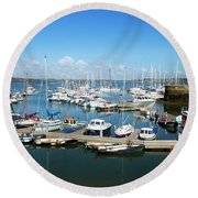 Mylor Marina Cornwall Round Beach Towel