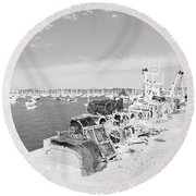 Mylor Quay In Cornwall Monochrome Round Beach Towel