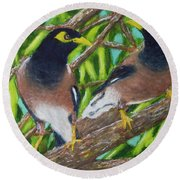 Mynah Birds #474 Round Beach Towel