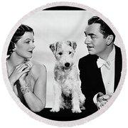 Myrna Loy Asta William Powell Publicity Photo The Thin Man 1936 Round Beach Towel