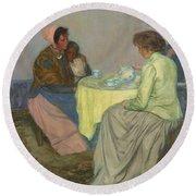 Myron G. Barlow 1873 - 1937 Dutch Women Drinking Coffee Round Beach Towel