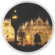 Mysore Palace Main Gate Temple Gloriously Lit At Night Round Beach Towel