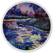 Mysterious Blue Pond Round Beach Towel