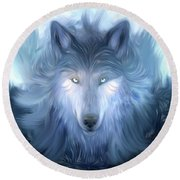 Mysterious Wolf Hand Painted Round Beach Towel