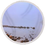 Mysterious Jordan Pond Round Beach Towel