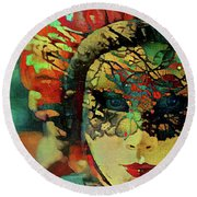 Mysterious Mask Round Beach Towel