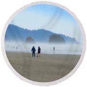 Mysterious Morn On Cannon Beach Round Beach Towel