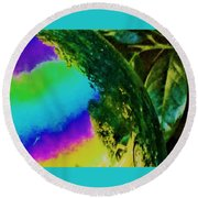 Mysterious Planet Beside Leaves Round Beach Towel