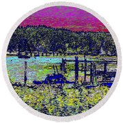 Mystery Bay At Sunset Round Beach Towel