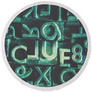 Mystery Writer Clue Round Beach Towel