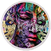 Mystic City Faces - Version B  Round Beach Towel
