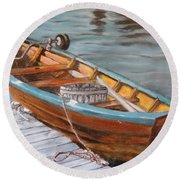 Mystic Fishing Boat Round Beach Towel