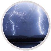 Mystic Lightning Storm Round Beach Towel