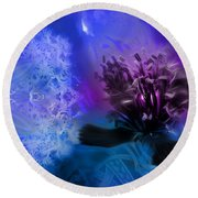 Mystic Poppy Blue Purple  Round Beach Towel