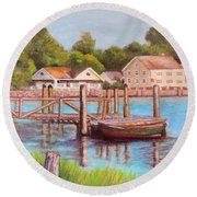Mystic River View Round Beach Towel