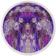 Mystic Waterfall - Purple Hues Round Beach Towel