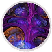 Mystical Caves Of Halyon Round Beach Towel