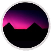 The Pyramids At Sundown Round Beach Towel